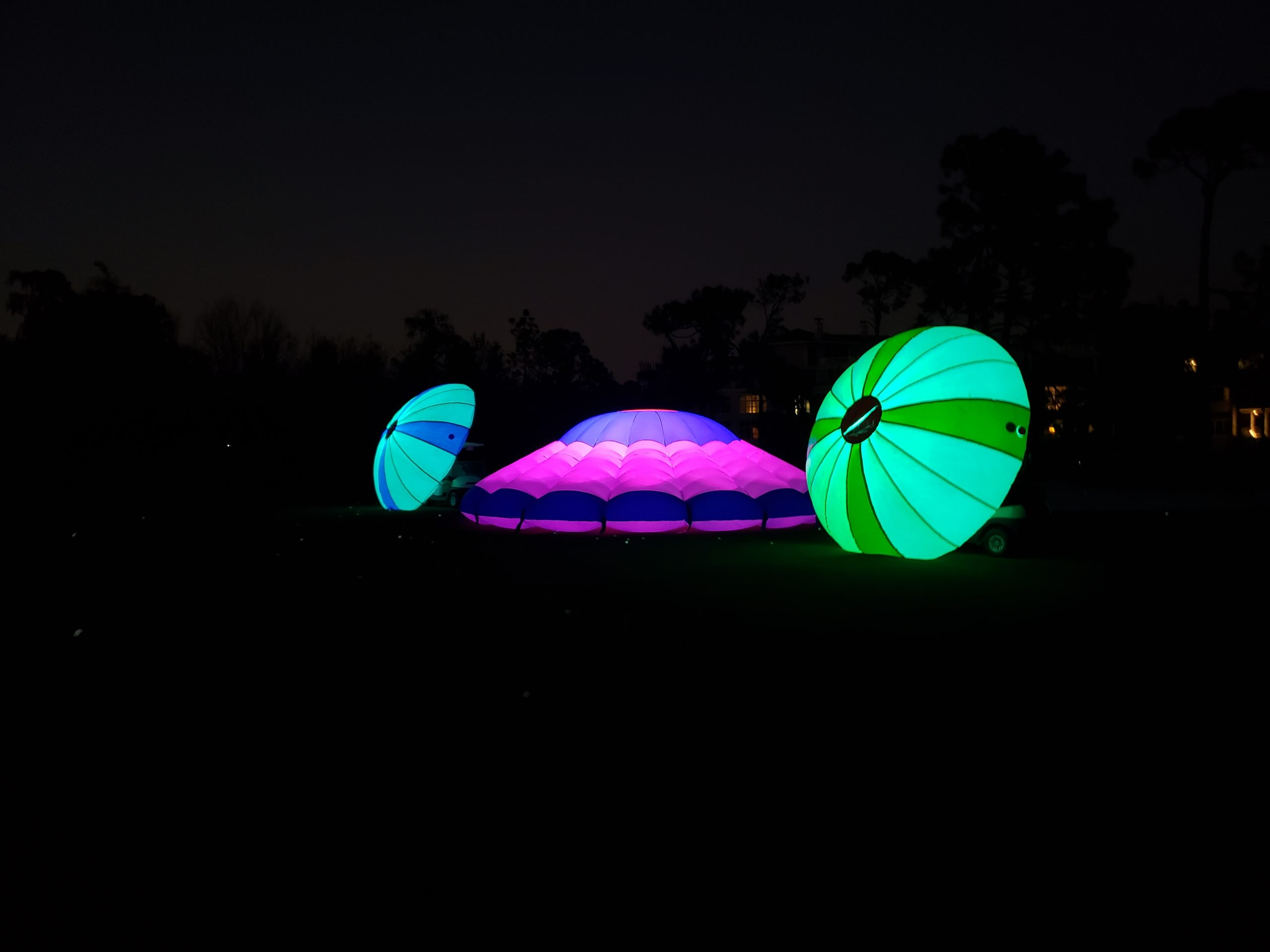 Mobile driving range party targets at night